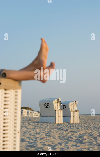 Beach chairs and bare feet, List, Sylt, Schleswig-Holstein, Germany, Europe - Stock Image