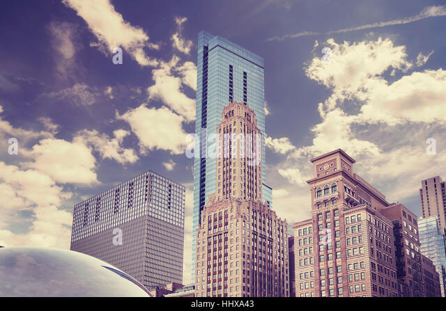 Color toned picture of Chicago downtown. - Stock Image