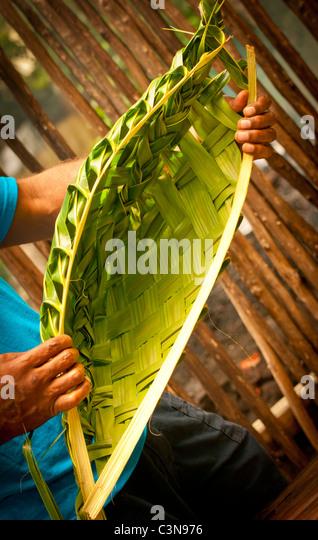 Traditional Fijian Hand Woven Coconut Palm Basket, Mamanuca Islands, Fiji - Stock Image