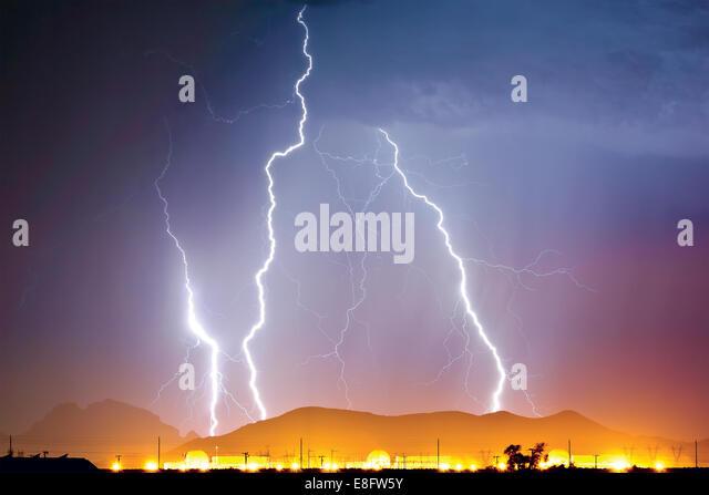 Thunder bolt over Nuclear Power Plant, Wintersburg, Arizona, america, USA - Stock Image