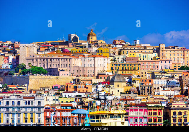 Cagliari, Sardinia, Italy old town skyline. - Stock-Bilder