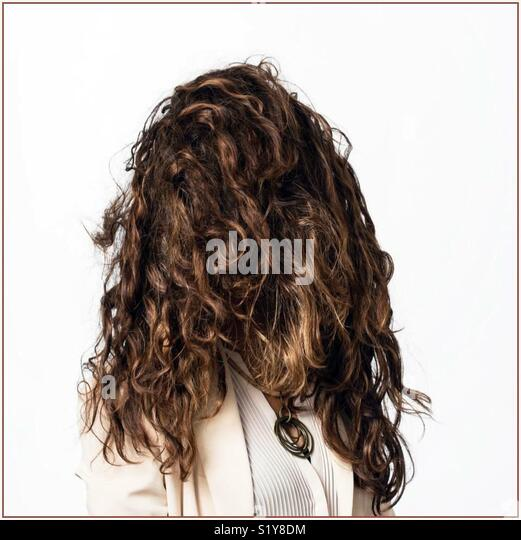 #hair#lotofhair#curlyhair#darkbrown#beautiful# - Stock Image