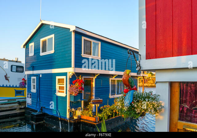 Floating home village, Fisherman's Wharf, Victoria, British Columbia, Canada - Stock Image