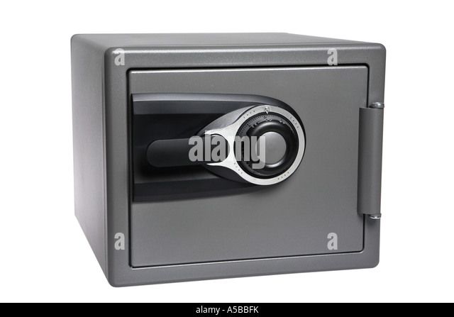 Combination Fire Safe cut out on white background - Stock Image