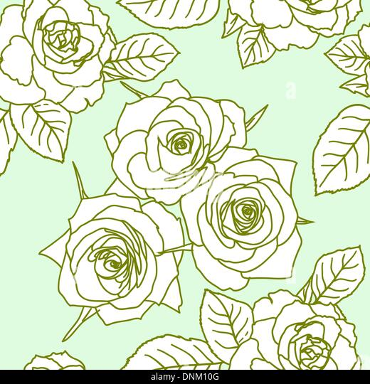 Seamless wallpaper with rose flowers - Stock-Bilder
