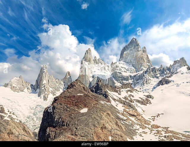Fitz Roy Mountain Range in Patagonia, Argentina - Stock Image