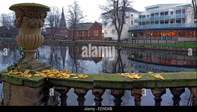 Panorama of the Lichfield city down by the river, Staffordshire at dusk, England, UK in autumn - Stock Image