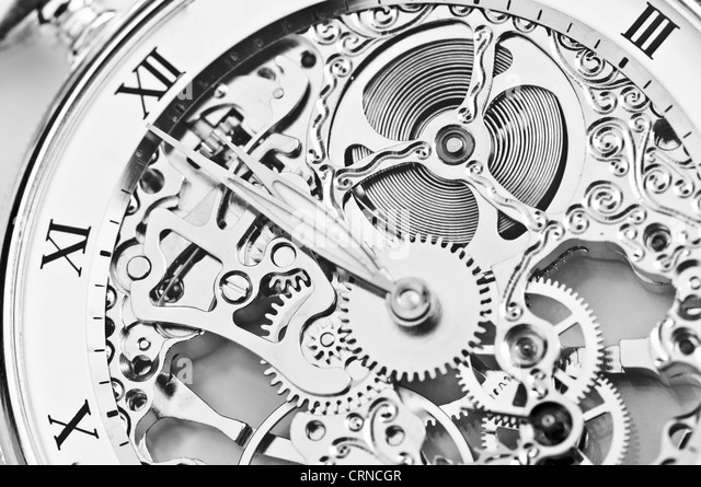 black and white close view of watch mechanism - Stock Image