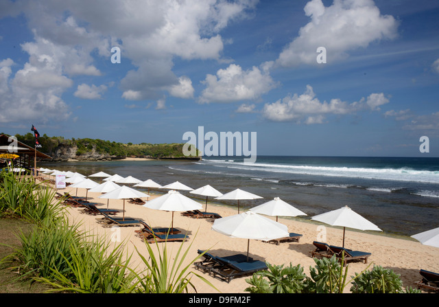 Balangan Beach and surfing hub, Bukit Peninsula, Bali, Indonesia, Southeast Asia - Stock Image