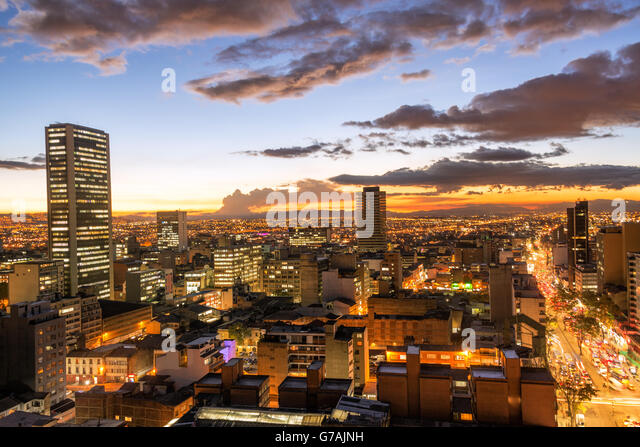 View of downtown Bogota, Colombia at dusk - Stock Image