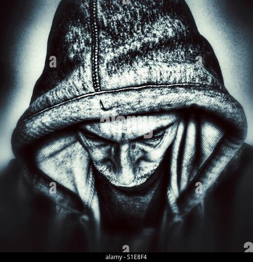 Mysterious man in hoodie - Stock-Bilder