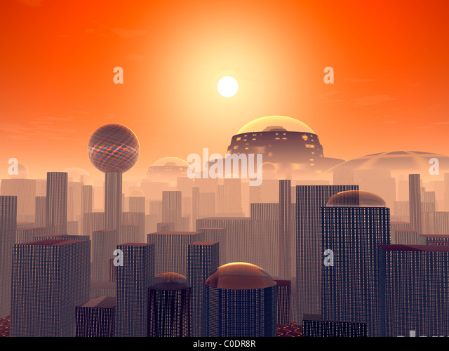Artist's concept of an Earth buried by layers of cities built by generations of our descendants. - Stock Image