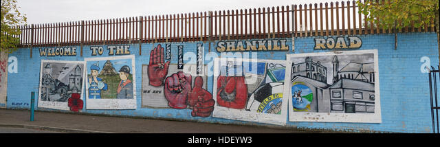 Welcome To the Shankill Road panorama - International Peace Wall,Cupar Way,West Belfast, Northern Ireland, UK - Stock Image