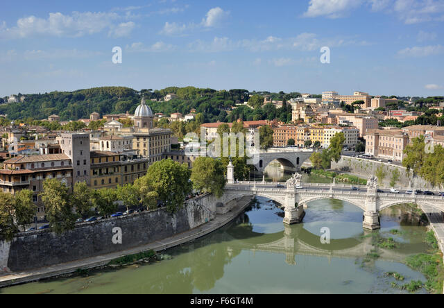 italy, rome, tiber river, ponte vittorio emanuele II bridge seen from castel sant'angelo - Stock Image