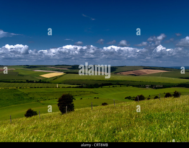 View towards Ditchling Beacon on the South Downs National Park, Sussex - Stock Image
