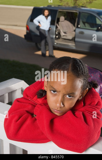 Mother and daughter fighting - Stock Image