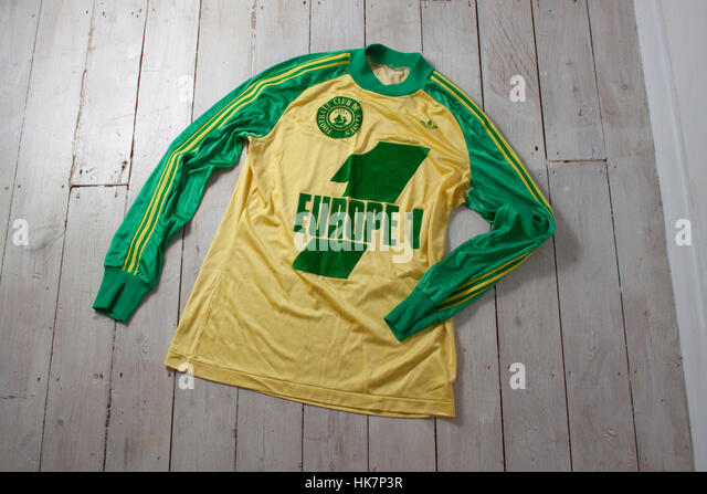 1980s yellow and green football jersey for French football team Nantes - Stock Image