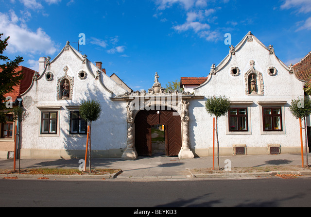 The two Moors House. Rustic Baroque architecture - Sopron, Hungary - Stock Image