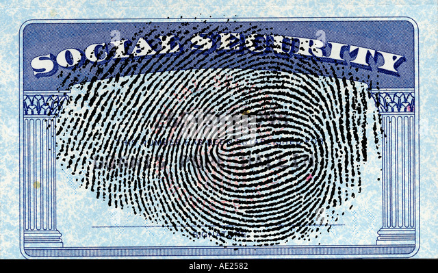 United States Social Security card with finger print abstract - Stock Image