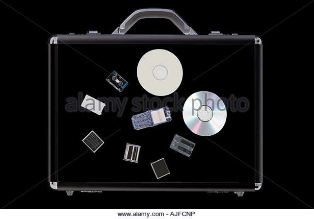 X ray of objects in briefcase - Stock Image