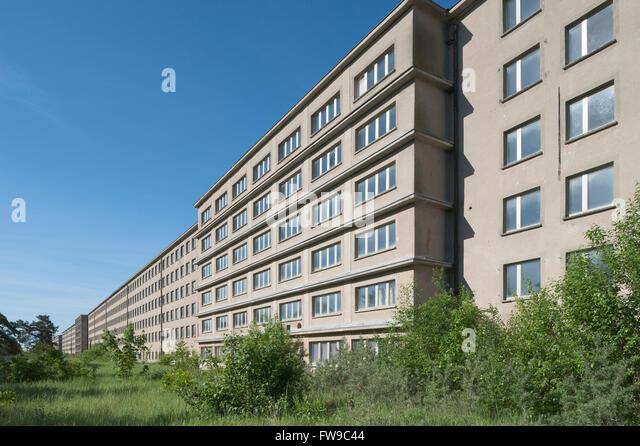 Gigantic housing block in Prora, former seaside resort Rügen of the Kraft durch Freude or KdF organization, - Stock Image