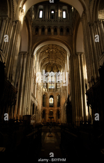 The vaulted ceiling in Norwich Cathedral, Norwich, England - Stock Image