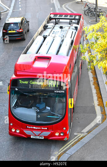 Looking down on roof mounted fuel cells on a  hydogen fuel single decker London bus operating on the RV1 route - Stock Image