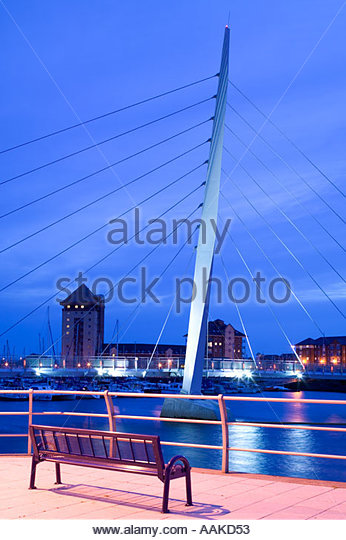 Swansea Marina Swansea Wales at twilight - Stock Image