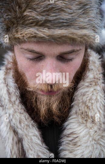 Mid adult man with beard, portrait - Stock-Bilder