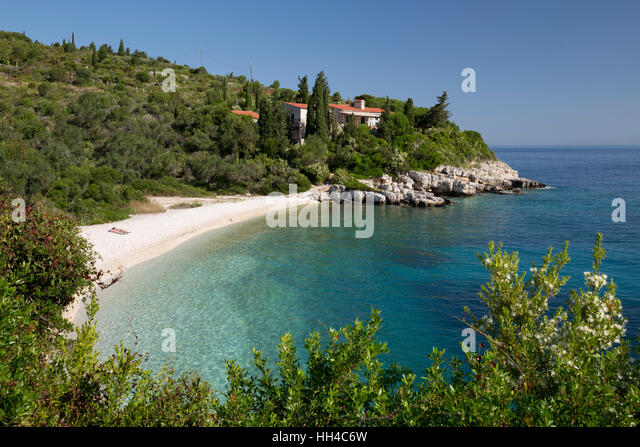 Khaki Lagkada beach on east coast, Paxos, Ionian Islands, Greek Islands, Greece, Europe - Stock Image