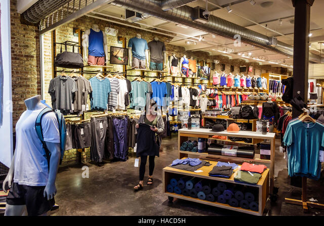 Manhattan New York City NYC NY Meatpacking District neighborhood lululemon athletica athletic apparel clothes store - Stock Image
