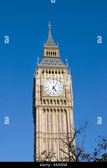 The Big Ben clock tower in Westminster - Stock Image