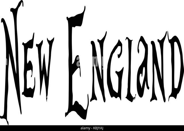 New England text sign illustration on white background - Stock Image