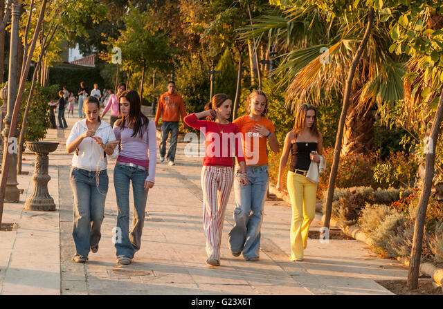 Teenager strolling over the promenade,  Costa del Sol Nerja , spain - Stock Image