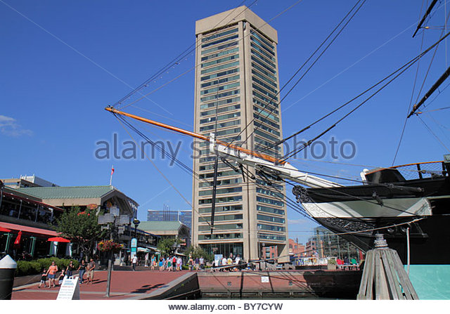 Maryland Baltimore Inner Harbor waterfront promenade attraction Harborplace festival marketplace 'Baltimore - Stock Image