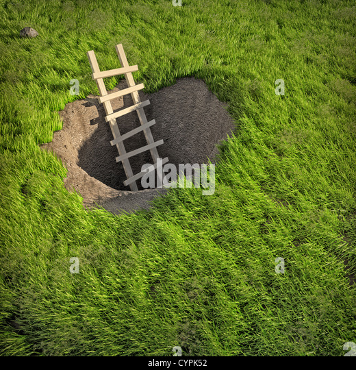 3d illustration of ladder in ground  hole - Stock Image