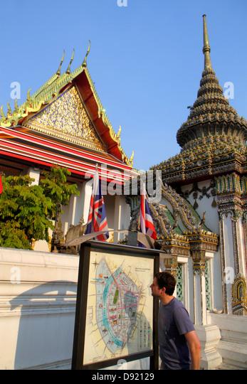 Thailand Bangkok Phra Nakhon Maha Rat Road Wat Pho Phra Chetuphon Buddhist temple directory sign information map - Stock Image