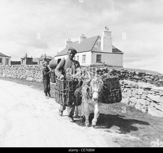 Patrick Dirrane with his son and a heavily laden donkey on Inis Mor, Aran Islands, Co Galway Ireland - Stock Image