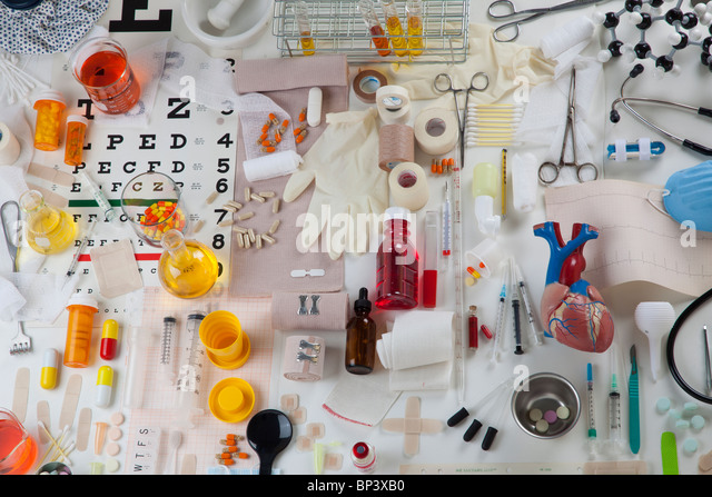 collection of health care medical items - Stock Image