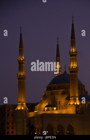 Mohammad Al Amin mosque at night, Beirut - Stock Image