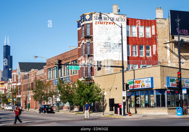 Chicago Illinois Lower West Side West 18th Street buildings Willis Sears Tower skyscraper - Stock Image