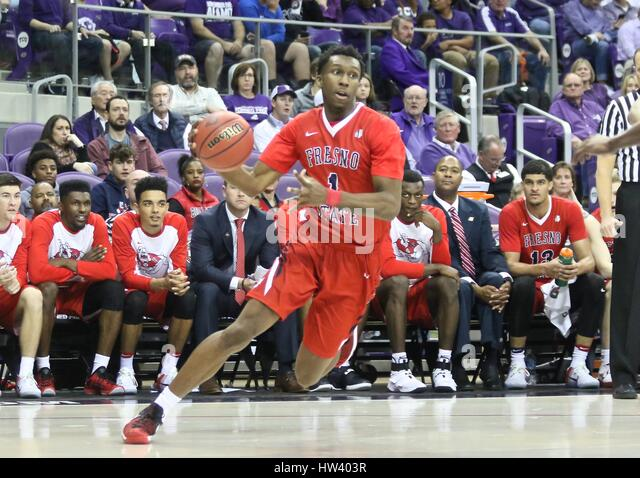 Fort Worth Texas, USA. 15th Mar, 2017. NIT basketball, tournament, NCAA, First Round, Bulldog guard Jaron Hopkins - Stock Image