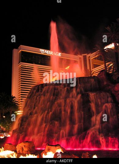 Las Vegas Nevada usa united states volcano eruption at Mirage Hotel - Stock Image