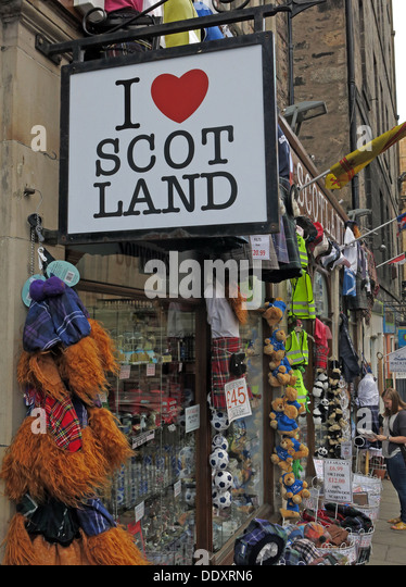 I love Scot Land shop Edinburgh Scotland UK - Stock Image