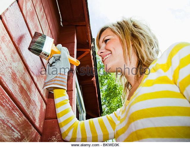 Girl with brush - Stock-Bilder