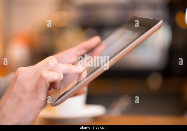 female pc computer pub messgae e-mail fingers - Stock Image