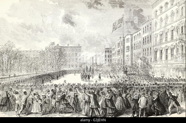 Presentation of Colors to the Twentieth United States Colored Infantry, Colonel Bartram, at the Union League Clubhouse, - Stock Image