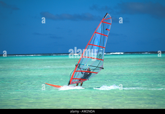 Bonaire Netherlands Antilles Windsurfing at Lac Bay - Stock Image