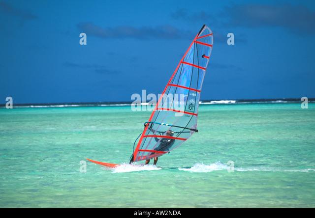 Bonaire Netherlands Antilles Windsurfing at Lac Bay - Stock Image