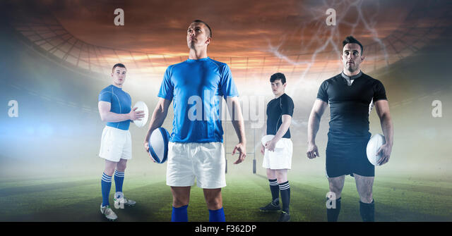 Composite image of rugby player holding rugby ball - Stock Image